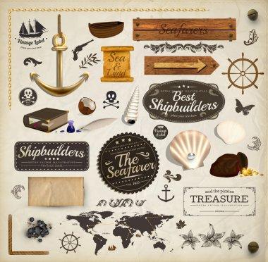 скрапбукинга комплект: морской праздник элементы коллекции. корабль, карта, причалы, ракушки с жемчугом и древесных набор баннеров. старые текстуры бумаги и ретро кадров
