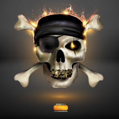 Skull with bones and fire for halloween or rock design