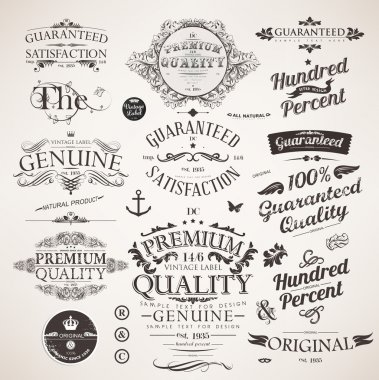 Vector set calligraphic design elements, engraving flowers and retro frames, Premium Quality and Satisfaction Guarantee vintage design Labels Old style, vector collection.