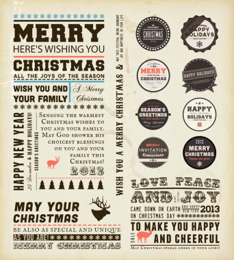 Christmas typography decoration collection Set of calligraphic and typographic elements, frames, vintage labels and borders. Floral ornaments and old paper texture. All for holiday invitation design
