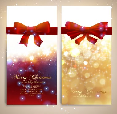 Xmas greeting cards with red bows and glow snowflakes for Christmas design. Vector illustration