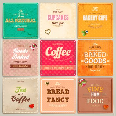 Set of retro bakery labels, ribbons and cards for vintage design, old paper textures clip art vector