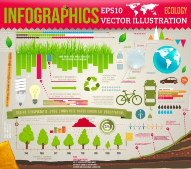 Set elements of ecological infographics for eco design with trees, grass, water, lamps and leafs