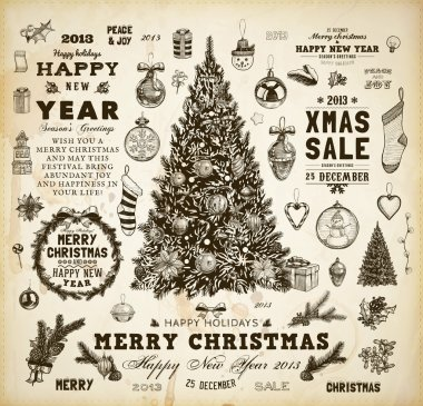 Christmas decoration collection Set of calligraphic and typographic elements, frames, vintage labels, ribbons, mistletoe, holly berries, fir-tree branches, balls, Christmas socks and snowman.