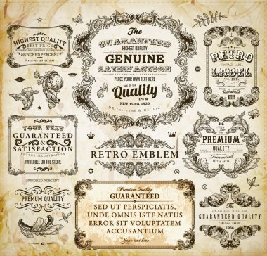 Vector set of calligraphic design elements: page decoration, Premium Quality and Satisfaction Guarantee Label, antique and baroque frames Old paper texture with dirty footprints of a cup of coffee.
