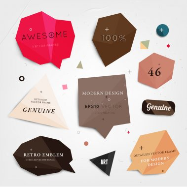 Labels vector set, modern style. Abstract futuristic design bubbles collection, vector.