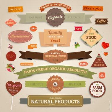 набор векторных этикеток, баннеры и ленты для органических, свежие и сельскохозяйственных продуктов дизайн, текстура бумаги