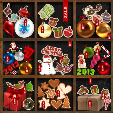 Wood shelves with Christmas goods: baubles, gifts, birds, snowman, Santa Claus, mistletoe, holly berries, candy canes, gingerbread trees, hearts and mans, labels and ribbons - set for Xmas design