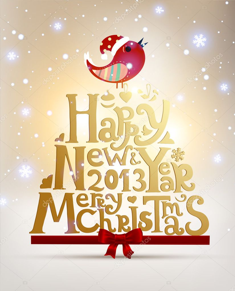 Happy new year 2013 and merry christmas lettering for xmas for Merry christmas bilder