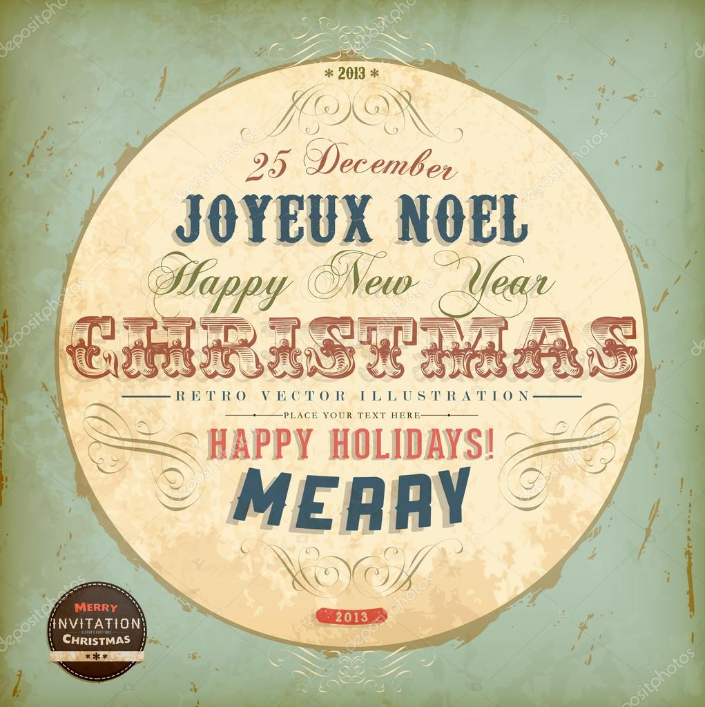 Vintage circle christmas card with ribbons and grunge background for vintage circle christmas card with ribbons and grunge background for xmas retro invitation design joyeux noel vector by ozerina stopboris Gallery