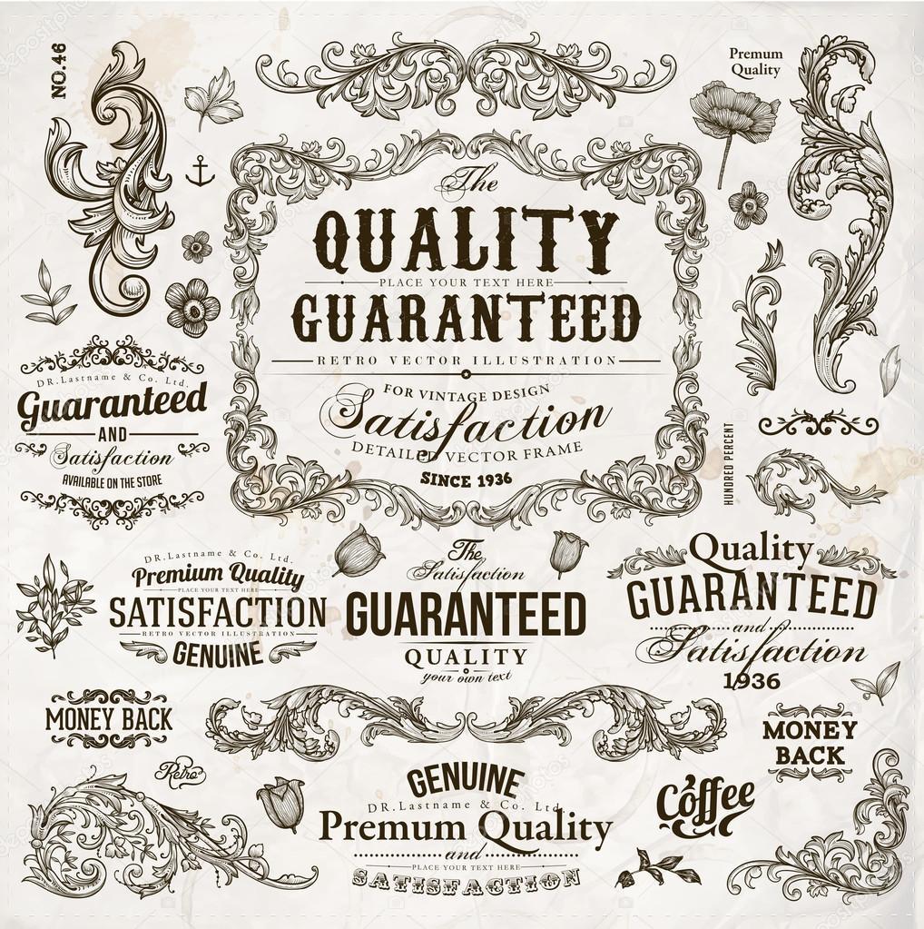 一連のカリグラフィのデザイン要素をベクトル: ページの装飾