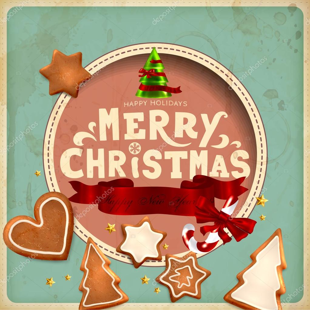 Merry En: Christmas Vintage Greeting Card. Merry Christmas Lettering