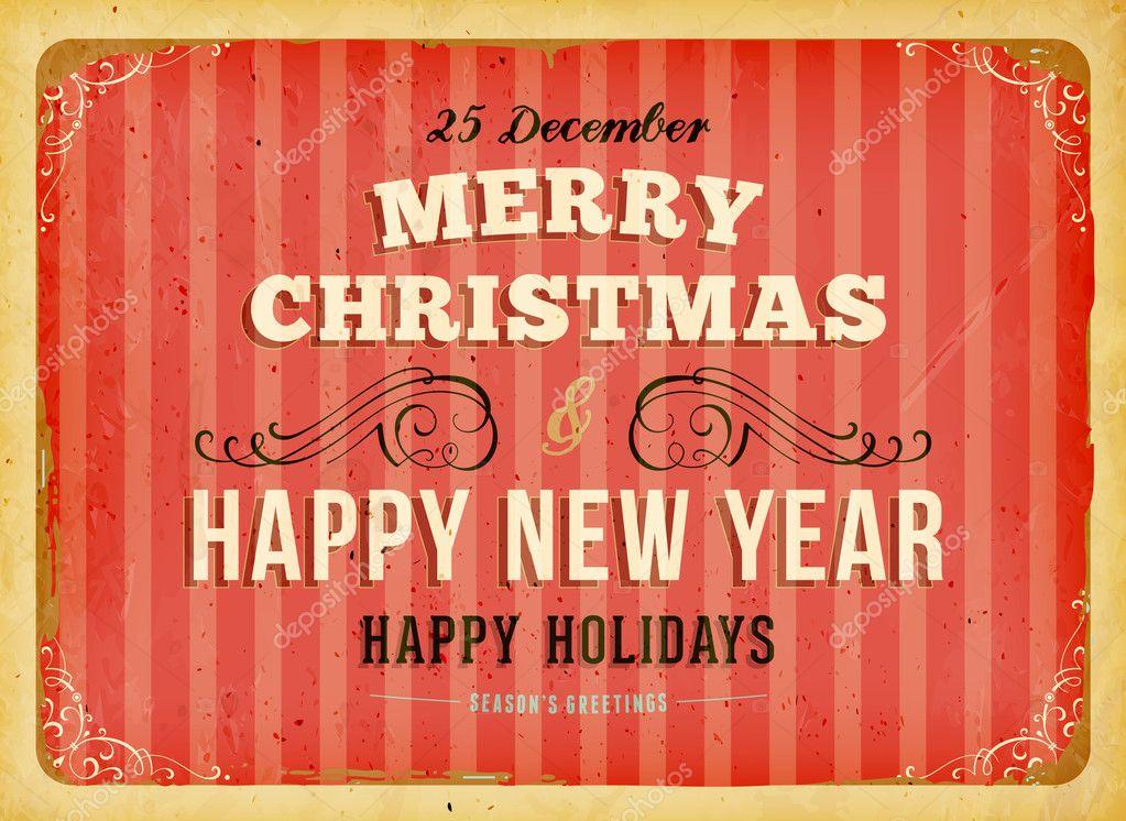 weihnachtskarte mit retro-rahmen und grunge hintergrund für, Einladungen
