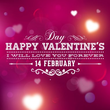 Happy Valentines Day Card Design. 14 February. I Love You. Vector Blurred Soft Background. stock vector