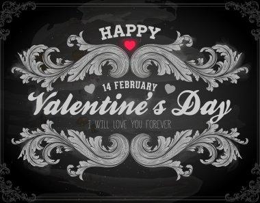Happy Valentines Day Card Design. 14 February. I Love You. Vector. Chalkboard design, chalk. stock vector
