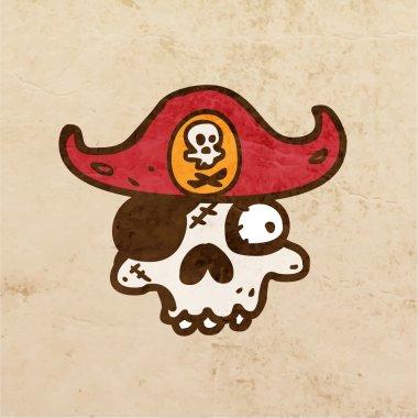 Cartoon Skeleton Skull with Mustache.