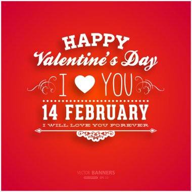 Happy Valentines Day Card Design. 14 February. I Love You. stock vector