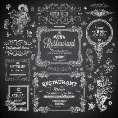 Retro set of labels for restaurant menu design.