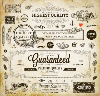 Vector set of calligraphic design elements: page decoration, Premium Quality and Satisfaction Guarantee Label, antique and baroque frames  Old paper texture with dirty footprints of a cup of coffee. stock vector