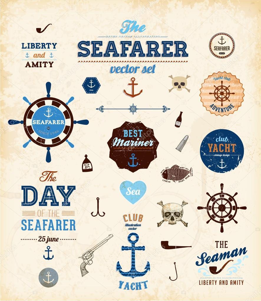 Векторный набор море: каллиграфические элементы ретро — стоковый вектор