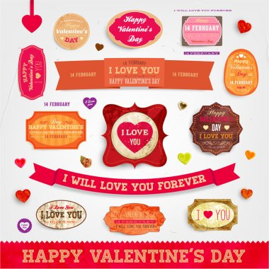 Happy Valentines Day Cards Set for Vintage Holiday Labels Design. Retro Paper Textures. Vector Illustration. clip art vector