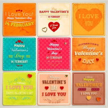 Happy Valentines Day Cards Set