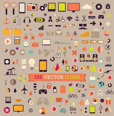 135 vector icons. Big set. Traveling, Business, Economy