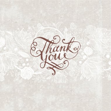 Hand Made Calligraphy Lettering Thank You.