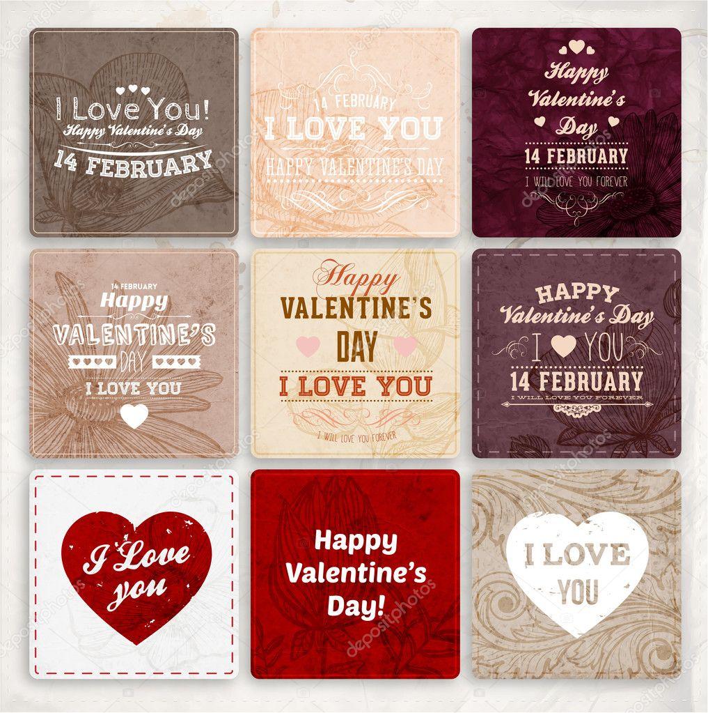 happy Valentinstag Karten — Stockvektor © Ozerina #43258783