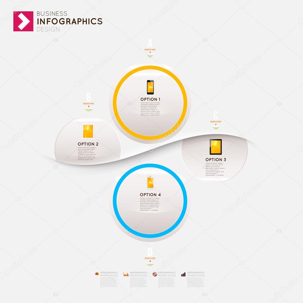 Modern infographic template with icons for business design, ribbons. Can be used for banners, cards, paper designs, website layouts, diagrams and presentations. Vector eps10 illustration. stock vector
