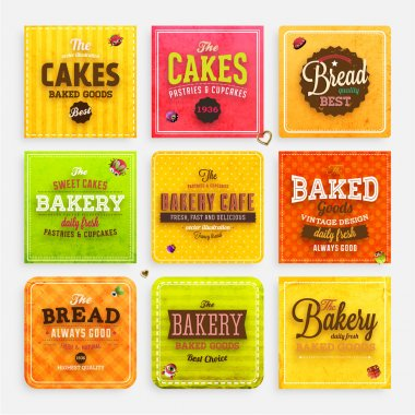 Set of retro bakery labels, ribbons and cards