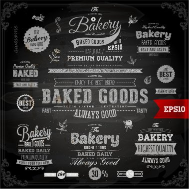 Set of vintage chalkboard bakery logo badges