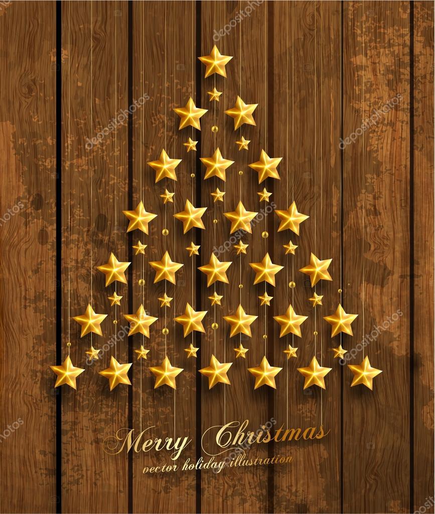 Christmas Tree Made of Golden Stars