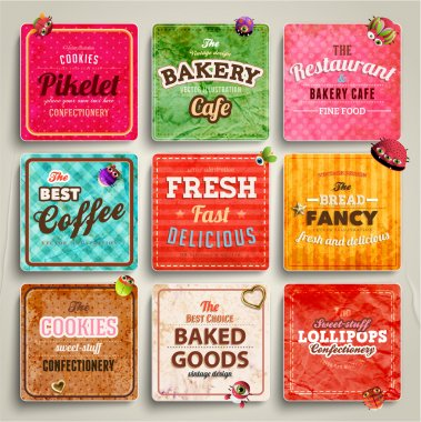 Set of retro bakery labels, ribbons
