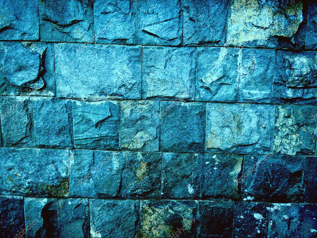 Abstract Blue Stone Wall Texture Stock Photo