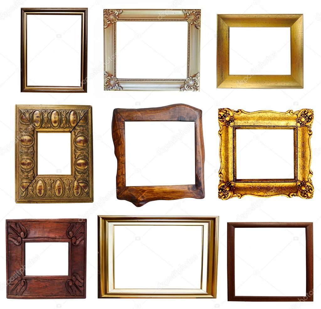collage de marcos de madera y antigüedades — Foto de stock ...