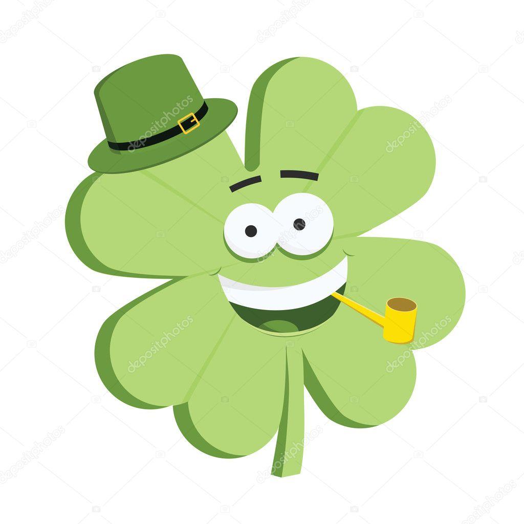Lindo 4 hojas carácter trébol de día de San Patricio con sombrero -  animado  trebol de 4 hojas — Vector de ivan.baranov — Vector de ivan.baranov 524b6a6d6ed2