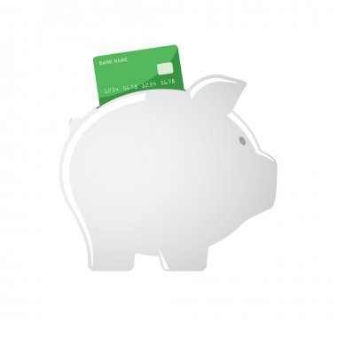 Piggy bank accepting credit cards