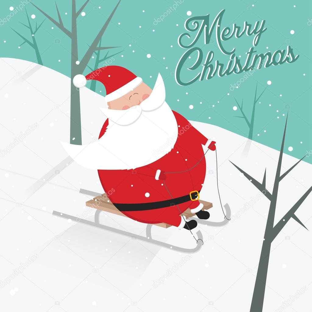 funny retro vintage merry christmas sledging santa claus postcard stock vector. Black Bedroom Furniture Sets. Home Design Ideas