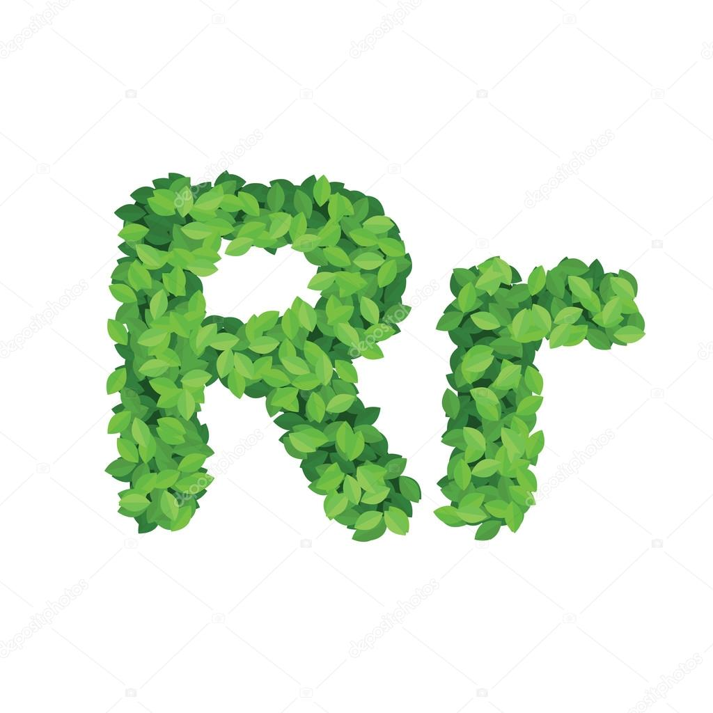 Vector eco alphabet letter R made from green leaves