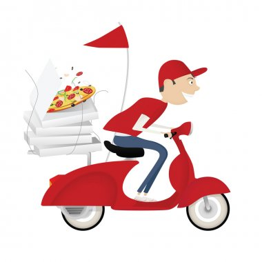 "Картина, постер, плакат, фотообои ""смешной разносчик пиццы на мотоцикле "", артикул 17651781"