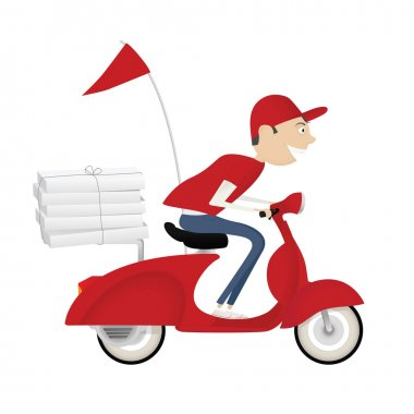 Funny pizza delivery boy riding red motor bike