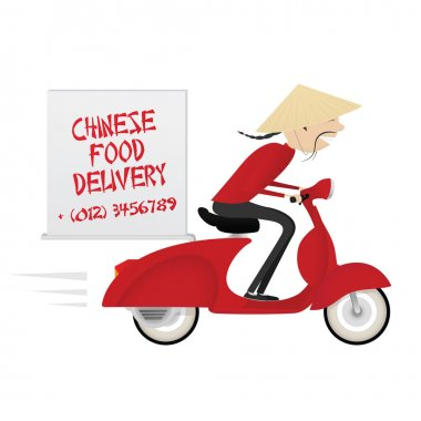 Chinese food delivery boy riding red motor bike