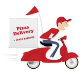 Fotografie Funny pizza delivery boy riding red motor bike