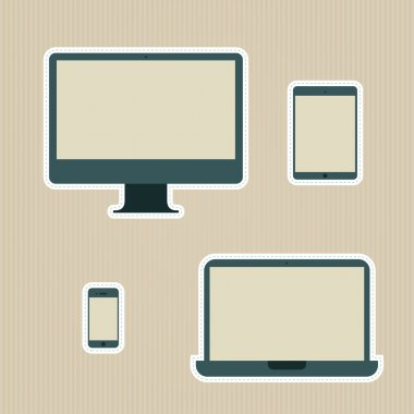 Electronic devices vintage icons set