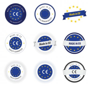 Made in European Union labels, badges and stickers stock vector