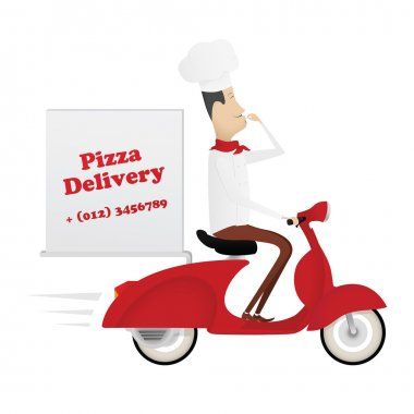 Funny italian chef delivering pizza on red moped