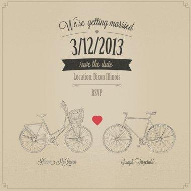Retro wedding invitation with tandem vintage bicycles