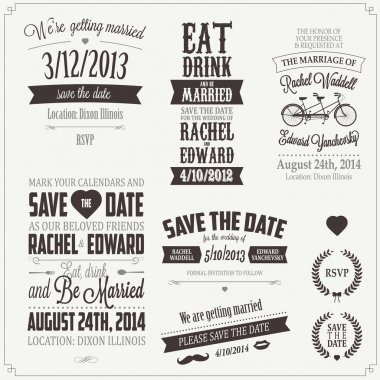 Set of wedding invitation vintage typographic design elements stock vector
