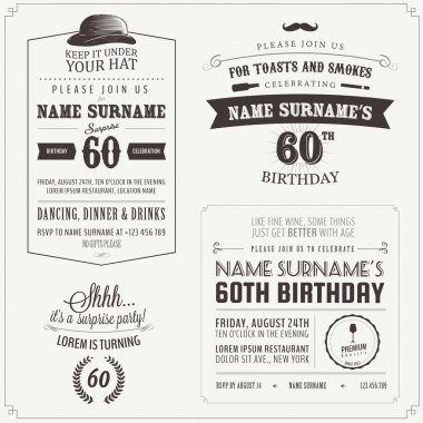 Set of adult birthday invitation vintage design elements